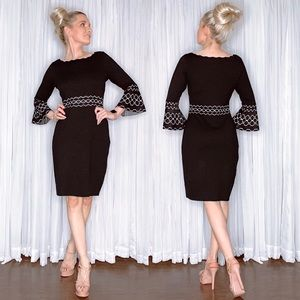 Black Sweater Pageant Interview Dress Bell Sleeve
